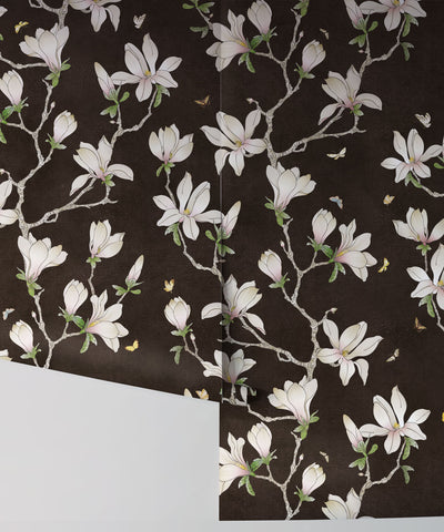 Magnolia Wallpaper (Two Rolls) in Night from the Kingdom Home Collection by Milton & King