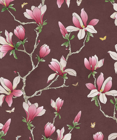 Magnolia Wallpaper (Two Rolls) in Plum from the Kingdom Home Collection by Milton & King