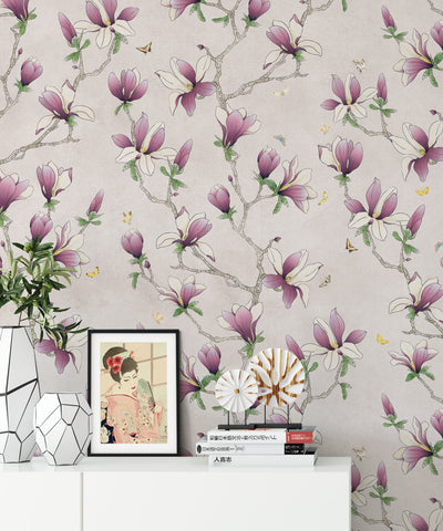 Magnolia Wallpaper (Two Rolls) in Violet from the Kingdom Home Collection by Milton & King