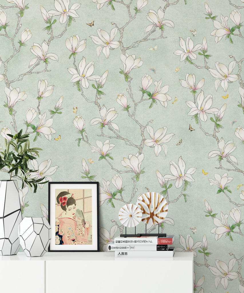 Magnolia Wallpaper (Two Rolls) in White from the Kingdom Home Collection by Milton & King