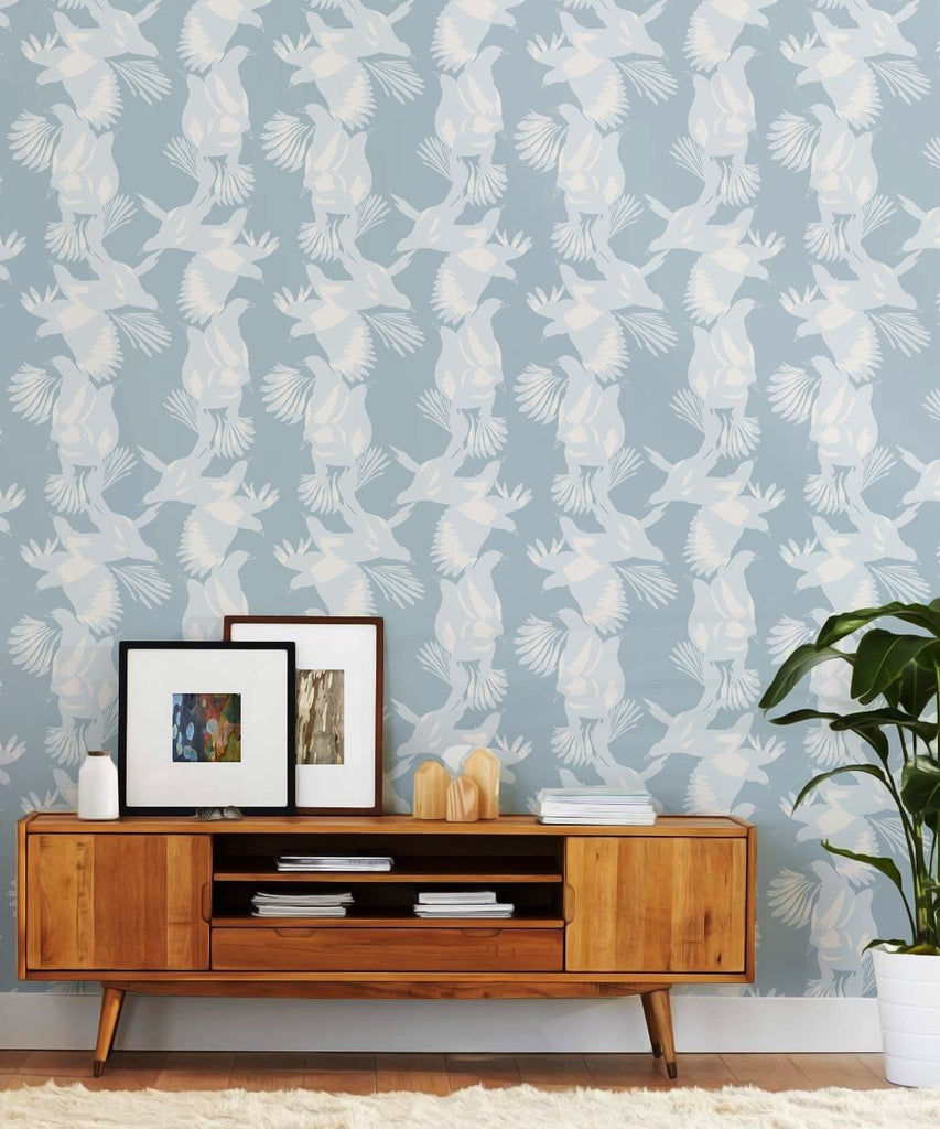 Magpie Wallpaper in Blue Bell from the Kingdom Home Collection by Milton & King