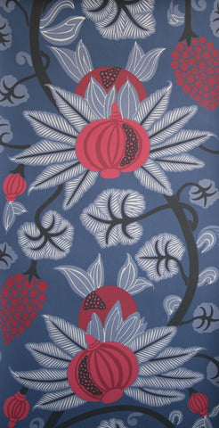 Maharani Wallpaper in Blue and Reds from the Sariskar Collection by Osborne & Little