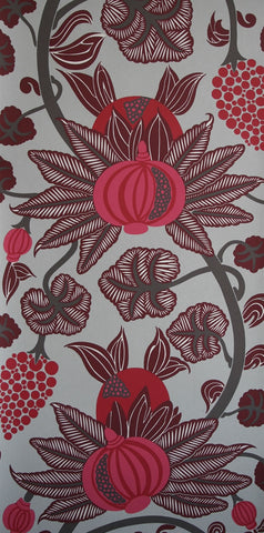 Maharani Wallpaper in Grey and Burgundy from the Sariskar Collection by Osborne & Little