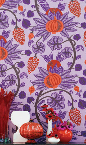 Maharani Wallpaper in Purple and Reds from the Sariskar Collection by Osborne & Little