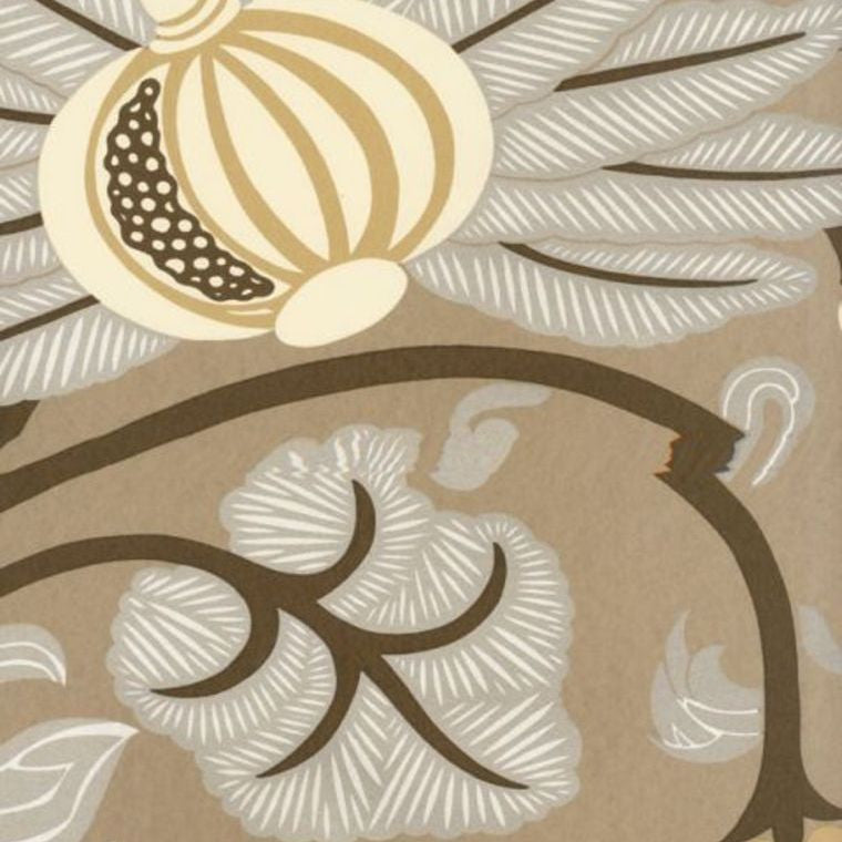 Maharani Wallpaper in Tan and Neutrals from the Sariskar Collection by Osborne & Little