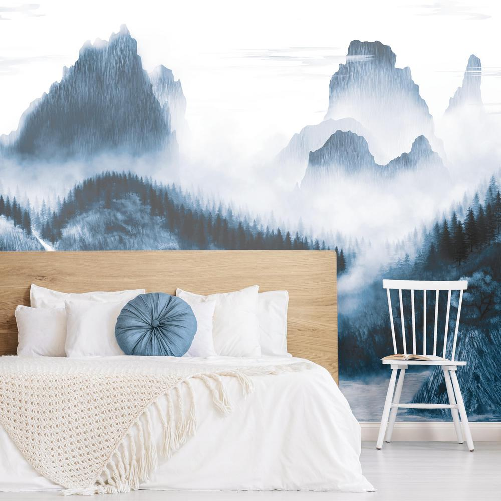 Majestic Mountains Peel & Stick Wall Mural in Blue by RoomMates for York Wallcoverings