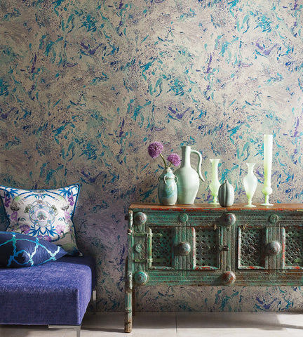 Makrana Wallpaper in Lilac and Turquoise by Matthew Williamson for Osborne & Little