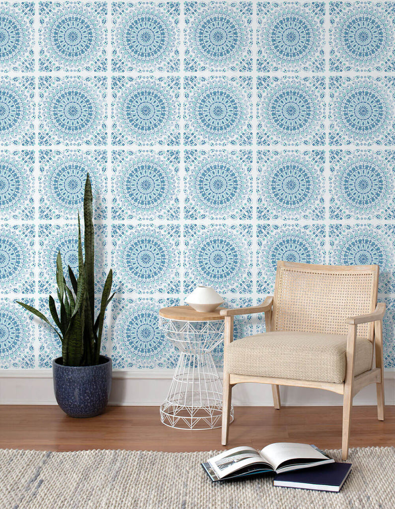 Mandala Peel-and-Stick Wallpaper in Teal and Blue by NextWall