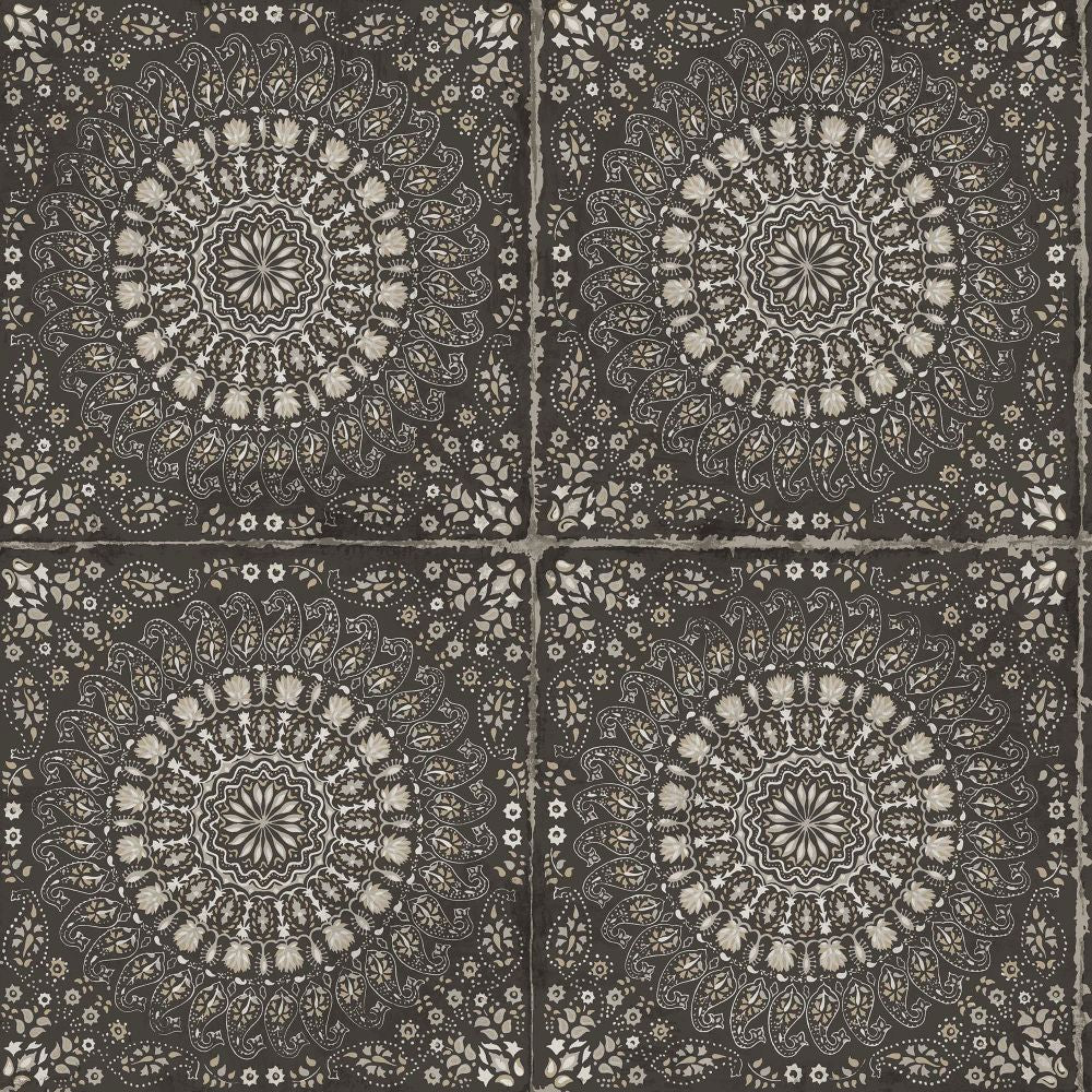 Mandala Boho Tile Wallpaper in Brushed Ebony and Stone from the Boho Rhapsody Collection by Seabrook Wallcoverings