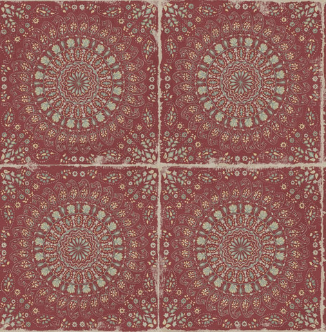 Mandala Boho Tile Wallpaper in Cabernet and Aloe Green from the Boho Rhapsody Collection by Seabrook Wallcoverings