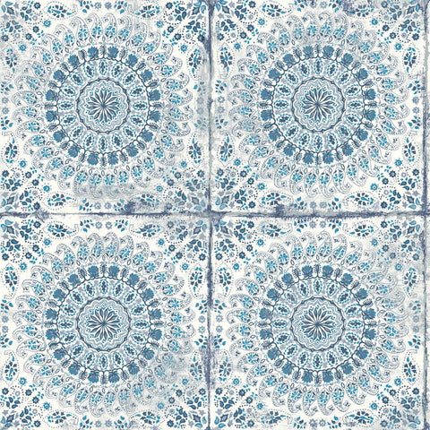 Mandala Boho Tile Wallpaper in Cerulean and Washed Denim from the Boho Rhapsody Collection by Seabrook Wallcoverings