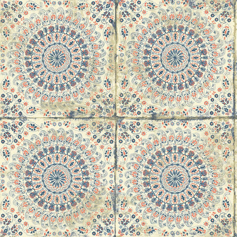 Mandala Boho Tile Wallpaper in Coral, Cream, and Midnight Blue from the Boho Rhapsody Collection by Seabrook Wallcoverings