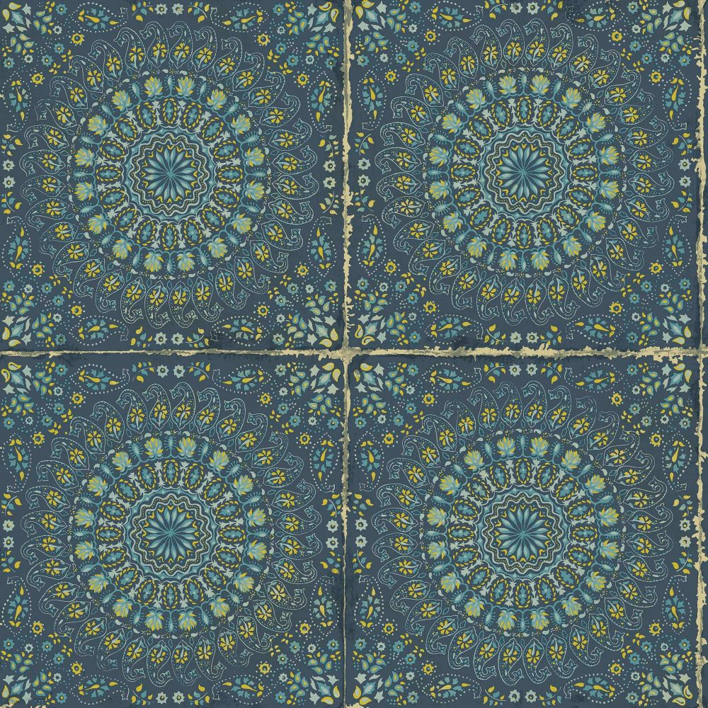 Sample Mandala Boho Tile Wallpaper in Navy Blue and Dandelion from the Boho Rhapsody Collection by Seabrook Wallcoverings