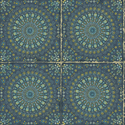 Mandala Boho Tile Wallpaper in Navy Blue and Dandelion from the Boho Rhapsody Collection by Seabrook Wallcoverings