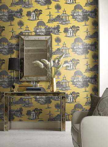 Mandarin Dream Wallpaper in Blue and Grey by Ashford House for York Wallcoverings