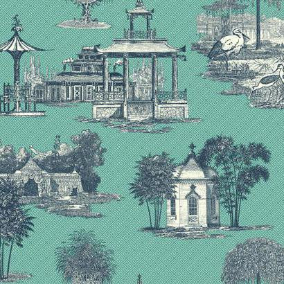 Mandarin Dream Wallpaper in Blue and Aqua by Ashford House for York Wallcoverings