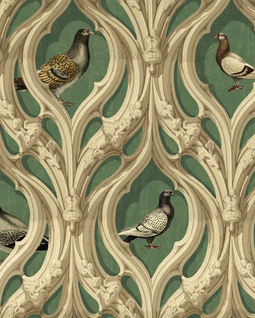 Sample Manor's Walls Wallpaper in Green and Taupe from the Wallpaper Compendium Collection by Mind the Gap