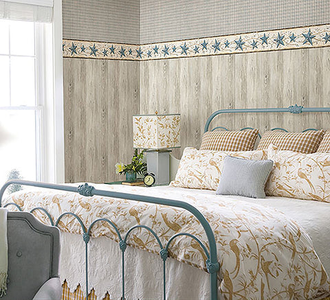 Mapleton Taupe Faux Wood Wallpaper from the Seaside Living Collection by Brewster Home Fashions