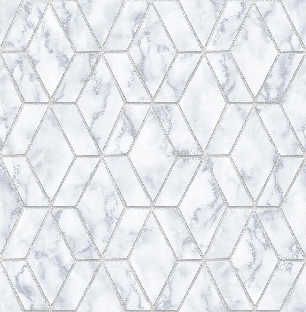 Sample Marble Tile Peel-and-Stick Wallpaper in Grey and Metallic Silver by NextWall
