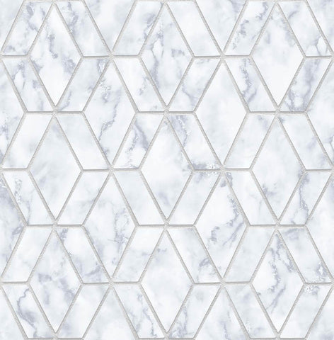 Marble Tile Peel-and-Stick Wallpaper in Grey and Metallic Silver by NextWall