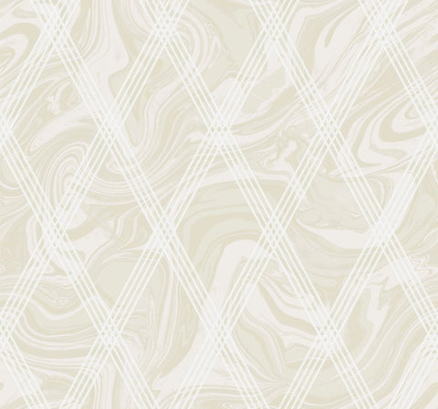 Marble Diamond Geometric Wallpaper in Gold and White from the Casa Blanca II Collection by Seabrook Wallcoverings