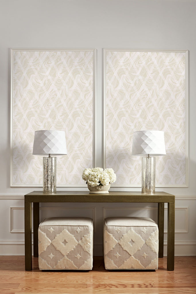 Marble Diamond Geometric Wallpaper from the Casa Blanca II Collection by Seabrook Wallcoverings