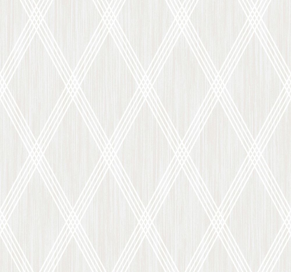 Sample Marble Diamond Geometric Wallpaper in Pearl and Silver Glitter from the Casa Blanca II Collection by Seabrook Wallcoverings