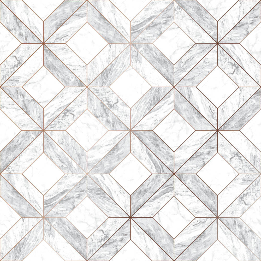 Sample Marble Marquetry Wallpaper in White and Rose Gold from the Strata Collection by Graham & Brown