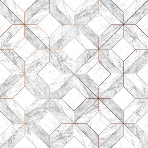Marble Marquetry Wallpaper in White and Rose Gold from the Strata Collection by Graham & Brown