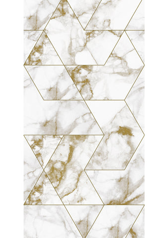 Marble Mosaic Wallpaper in Gold by KEK Amsterdam