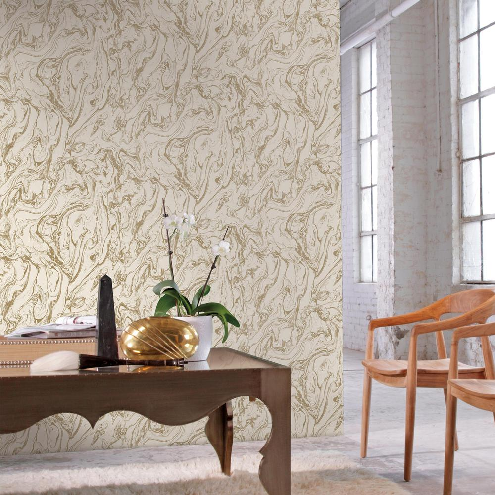Marble Peel & Stick Wallpaper in Gold by RoomMates for York Wallcoverings