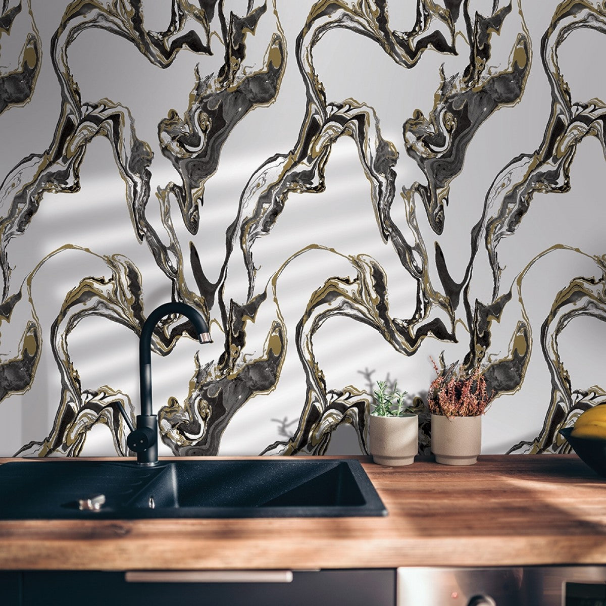 Marble Self Adhesive Wallpaper In Onyx Design By Tempaper