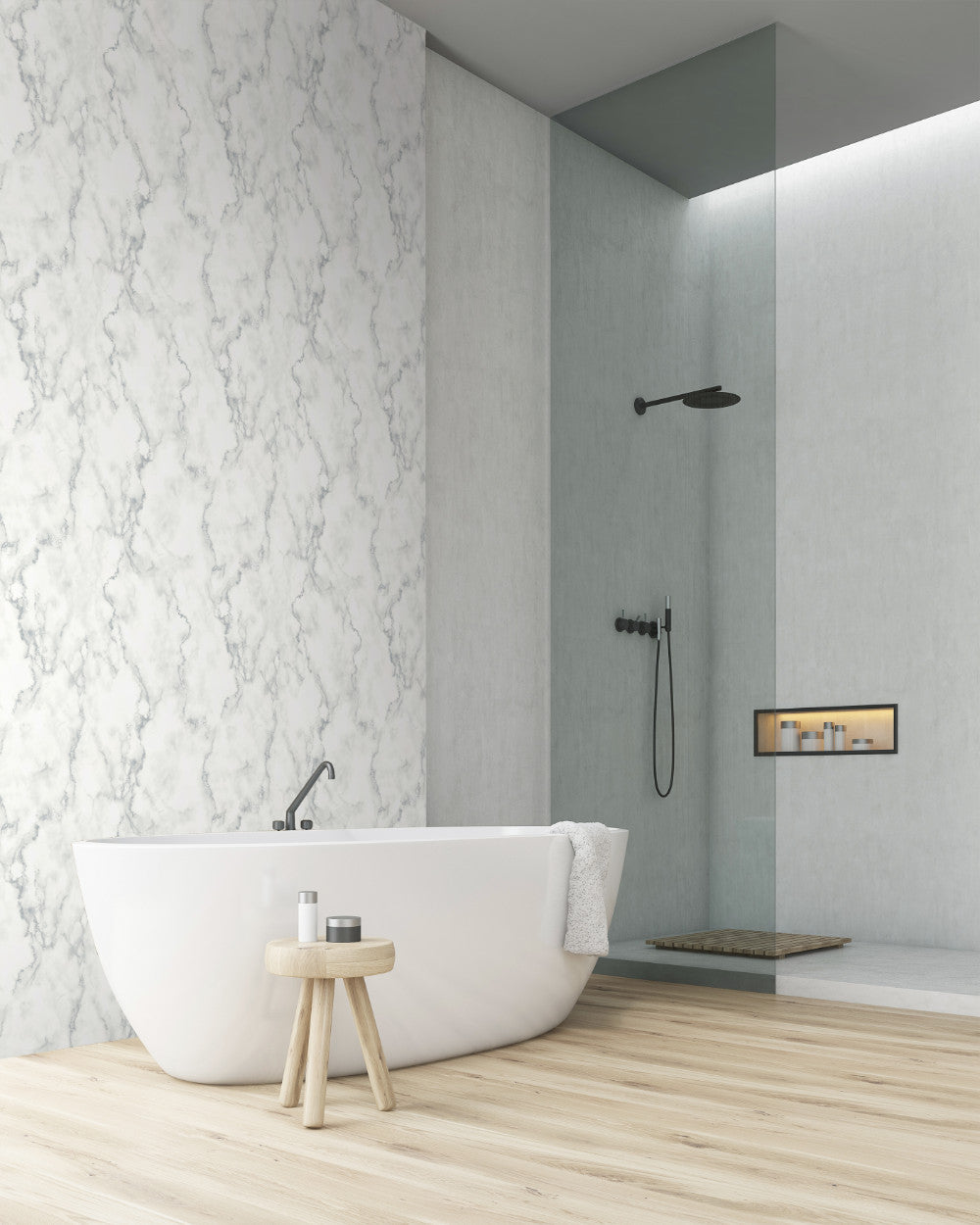 Marble Texture Peel And Stick Wallpaper In Grey And White By
