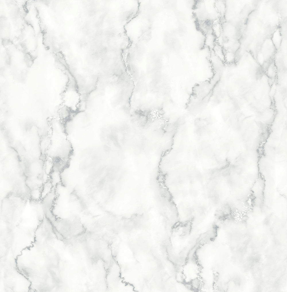 Sample Marble Texture Peel-and-Stick Wallpaper in Grey and White by NextWall