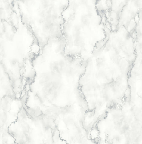 Marble Texture Peel-and-Stick Wallpaper in Grey and White by NextWall