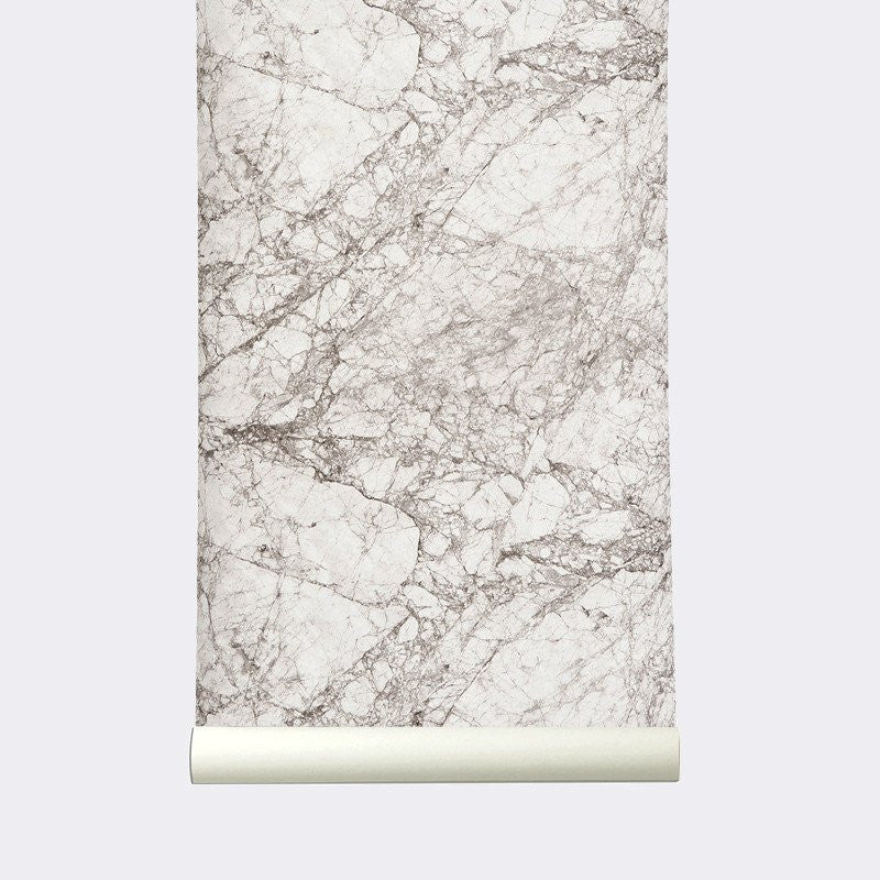 Sample Marble Wallpaper in Grey and White design by Ferm Living