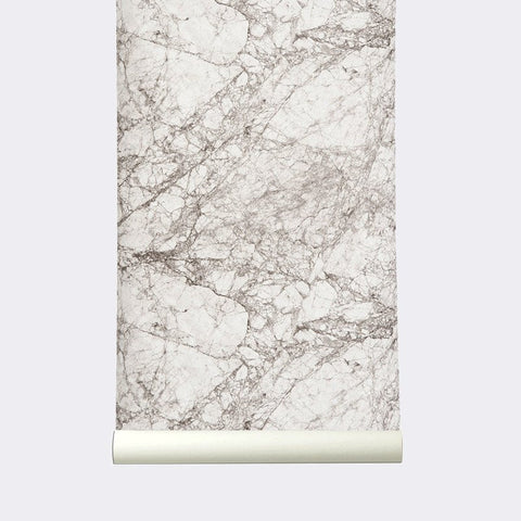 Sample Marble Wallpaper in Grey and White by Ferm Living