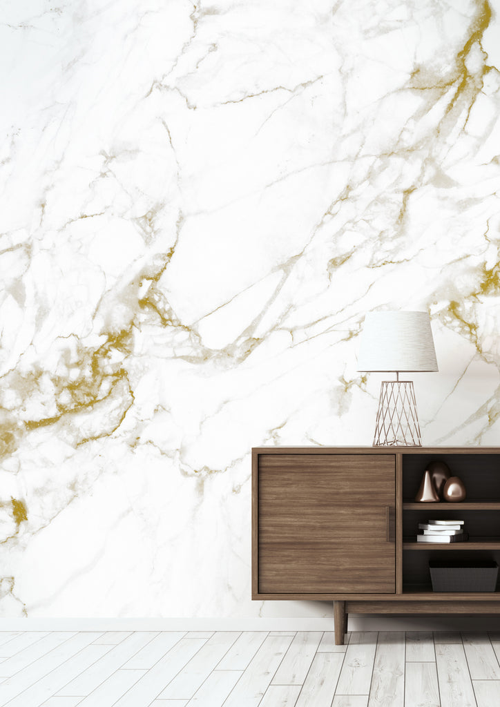 Marble White-Gold 555 Wall Mural by KEK Amsterdam