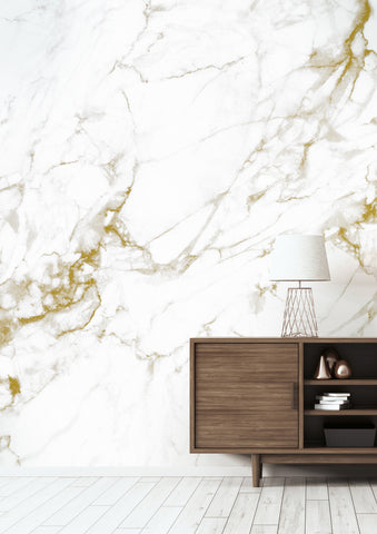 Marble White-Gold Wall Mural by KEK Amsterdam