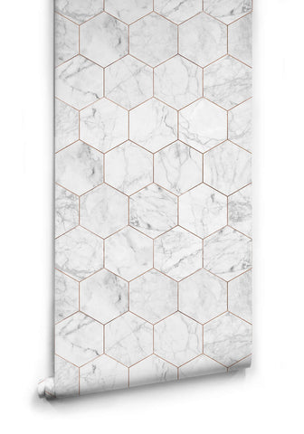 Sample Marble and Copper Tiles Wallpaper from the Kemra Collection design by Milton & King