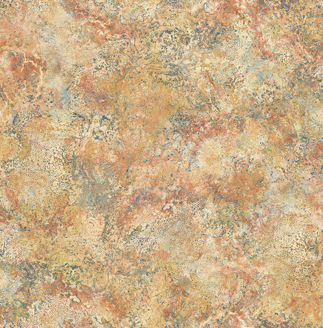 Marbled Paint Wallpaper in Golden Red from the Caspia Collection by Wallquest