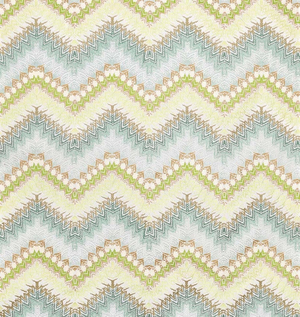 Mardis Gras Fabric in Aqua and Green by Nina Campbell for Osborne & Little