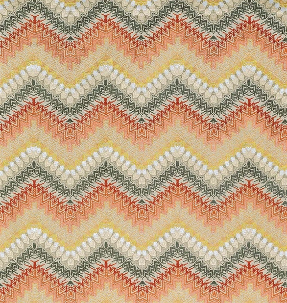 Mardis Gras Fabric in Coral and Gold by Nina Campbell for Osborne & Little