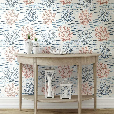 Marine Garden Wallpaper in Coral from the Water's Edge Collection by York Wallcoverings