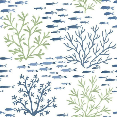 Marine Garden Wallpaper in Fern from the Water's Edge Collection by York Wallcoverings