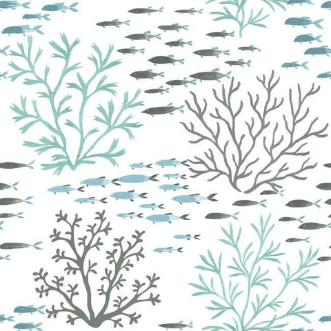 Marine Garden Wallpaper in Ocean from the Water's Edge Collection by York Wallcoverings