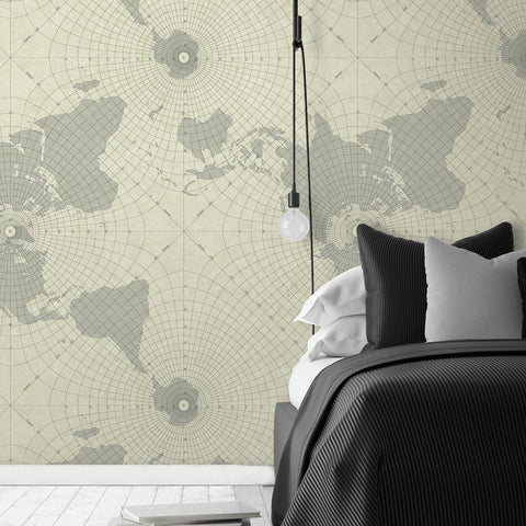 Maritime Map Stripe Peel & Stick Wallpaper in Grey by RoomMates for York Wallcoverings