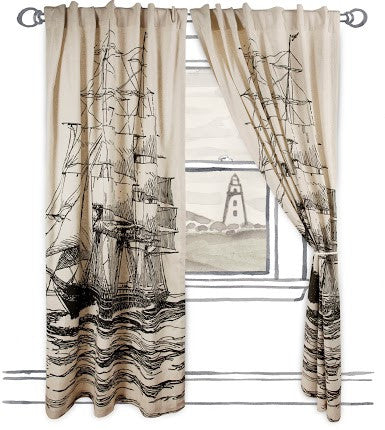 Maritime Window Curtain in Black design by Thomas Paul