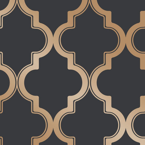 Marrakesh Self-Adhesive Wallpaper in Midnight and Metallic Gold design by Tempaper