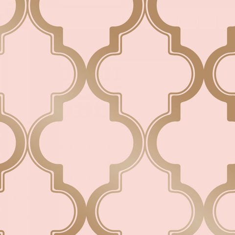 Marrakesh Self-Adhesive Wallpaper in Pink and Metallic Gold design by Tempaper